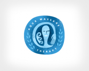Color light blue aqua massage logo